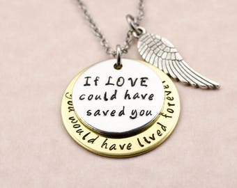 Remembrance Necklace - Engraved Memorial Necklace - Sympathy Gift - Loss of Pet - Loss of Baby - Loss of Parent Loss of Sister - Miscarriage