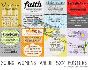 5x7 Digital - Young Womens Value posters, LDS  young womens handouts, opening exercises, young women values, yw values, digital prints,
