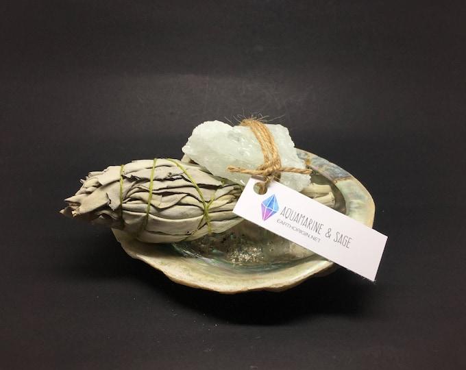 Smudge Kit Abalone shell, Aquamarine Rough & White Sage WSAQUA01
