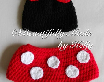 Crocheted Minnie Mouse Diaper Cover Set