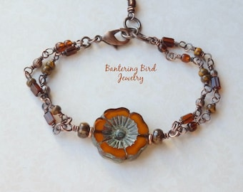 Fall Colors Glass Bead Bracelet with Orange Flower and Brown Beaded Chain, Double Strand Rosary Wrapped Copper Jewelry