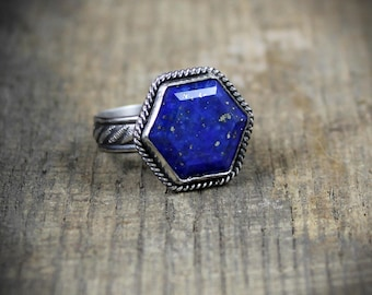 READY TO SHIP - Bright Blue Hexagon Lapis Lazuli - Sterling Cocktail Ring - Size 7