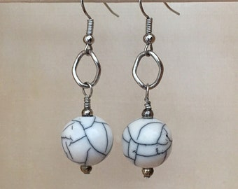 White Earrings, White and Gray Earrings, White and Silver Earrings, White and Black Earrings