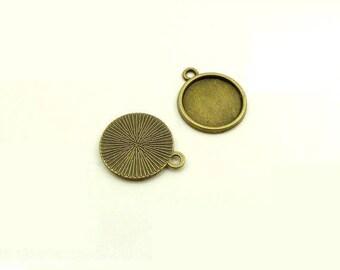 2 support color cabochon antique bronze 12 mm