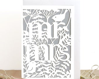 Mr Mrs card, Wedding papercut card, Engagement card, Happy ever after card, Marriage card, Rustic wedding card, Romantic wedding card