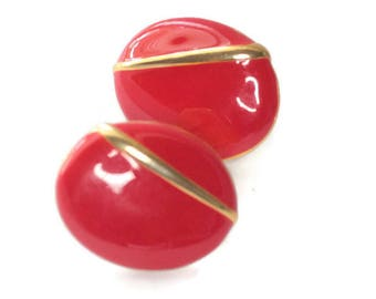 Red Enamel Earrings Gold Tone Accent Oval Shape Clip On Earrings Bold 1980s Retro Earrings
