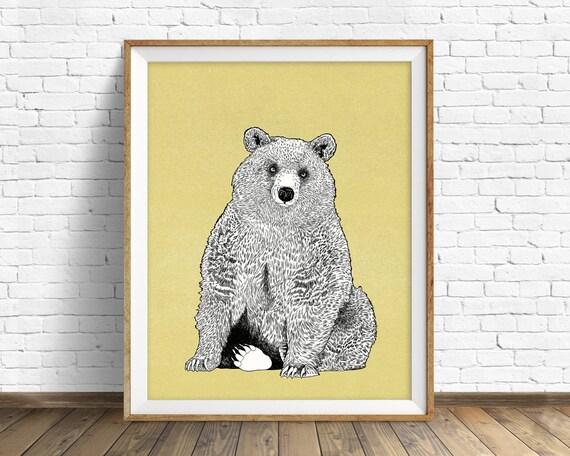 "art print, grizzly bear, bear drawing, woodland animals, large art, large wall art, woodland nursery, wall art, kids room art - ""Wild Heart"""