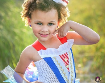 Sailor tutu dress and costume in blue red and white