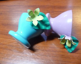 2 Dept. 56 Egg Cups 1 Blue 1 Purple Metal