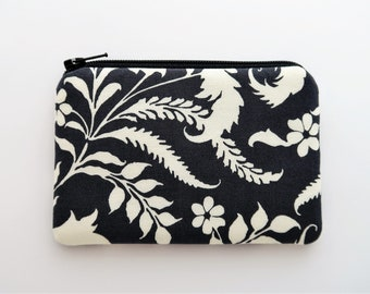 White floral coin purse - charcoal gray fabric mini zipper pouch - zipper wallet purse - small gifts for friends - flower pouches