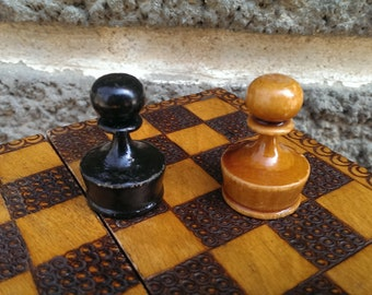 Vintage Chess White and Black Pawns, Old Wooden White Pawn, Old Wooden Black Pawn, Handmade Pawn, Home Decor