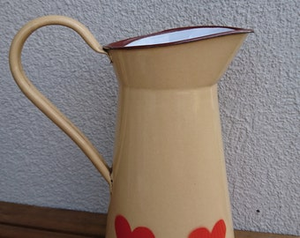 Vintage Enamel Pitcher, Enamel Water Can, Milk Pot