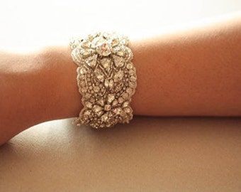 Wedding Bracelet, Bridal Bracelet,  Statement bridal bracelet, Swarovski Crystal Bracelet   - MI Silver