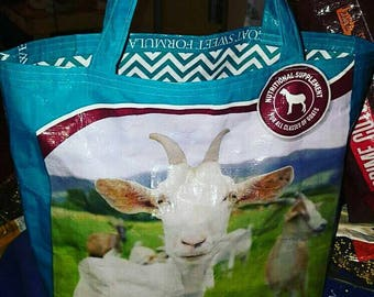 Recycled feed sack goat tote with a chevron fabric liner to match tote/bag/purse/reusable shopping bag/easter/spring