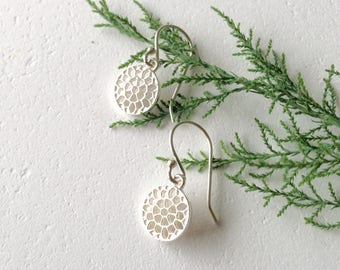 Petite sterling silver contemporary filigree earrings-  minimalist design