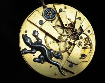 "SALAMANDER"" necklace watch mechanism antique ref 499"
