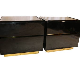 Mid Century Lane lacquer Nightstands Side Tables Pair