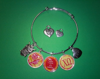 Chi Omega Charm Bracelet, Lilly Inspired, Big, Lil