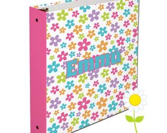 Personalized Binder for Kids - Flower 3 Ring Binder for Girls - Custom School Binder - Floral Binder in Pink, Purple, Orange, Lime & Aqua