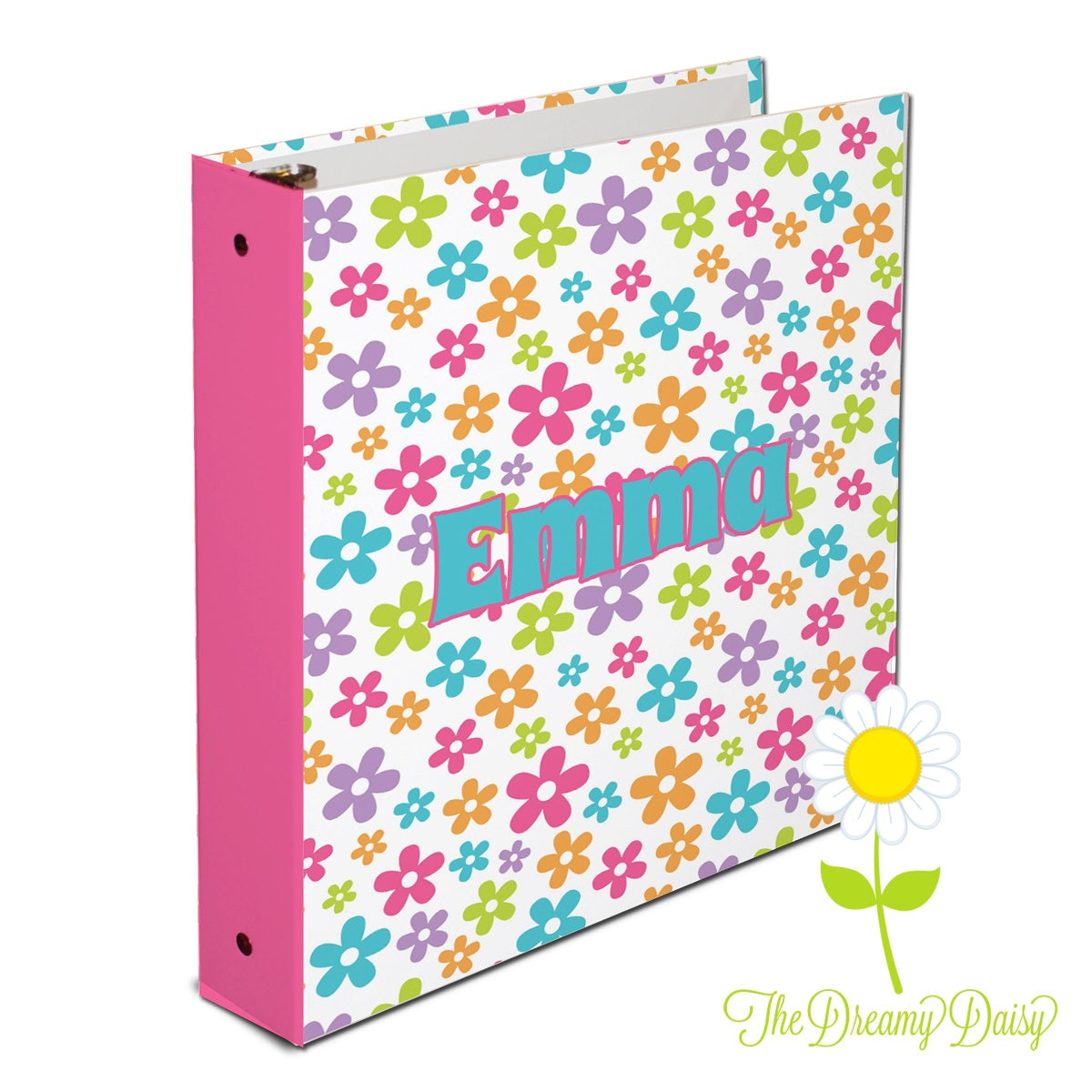 Personalized Binder For Kids Flower 3 Ring Binder For Girls