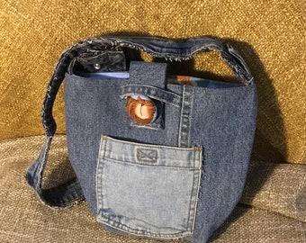 Handmade Denim Crossover bag