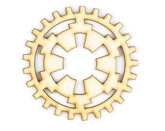 Star Wars SteamPunk Gears, Imperial Symbol Gears, Plywood Laser Cut Gears - 1qty - 4 Inch (10.16cm) - Imperial Symbol -