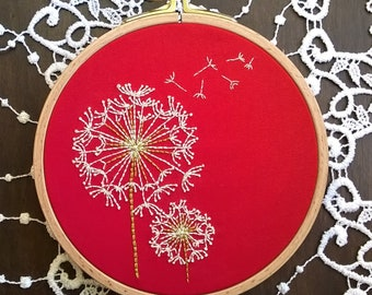 Embroidery kit beginner, Pre Printed Fabric for Hand Embroidery, Dandelion, DIY embroidery Kit, DIY Hoop Art Pattern - spring crafts