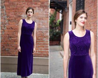1970s Purple Embossed Velvet dress | vintage 1970s dress | purple velvet 70s dress