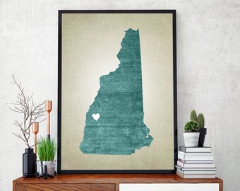 New Hampshire State Map Art Print, Personalized State Map, Customizable State Map Art Print, Home State Map Art Print, Home State Map Print