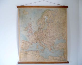 Vintage Map 1960s Europe Pull Down Chart, School Chart Wall Map, National Geographic Roll Chart, Geography, 1960s