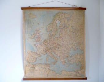 Landkarte der 1960er Jahre Europa herunterziehen Diagramm, Diagramm Schulwandkarte, National Geographic Rolle Diagramm, Geographie, 1960er Jahre