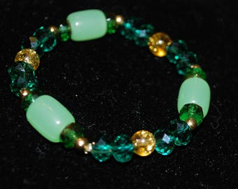 Green Gold Yellow Jade Gemstone Nuwa Beaded Bracelet Beads Natural