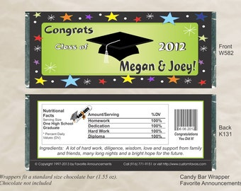 Graduation Favors, Candy Wrappers, High School Graduation, College Graduation, Sober Grad Night, Grad Night Party Favors (Set of 12)(W582)