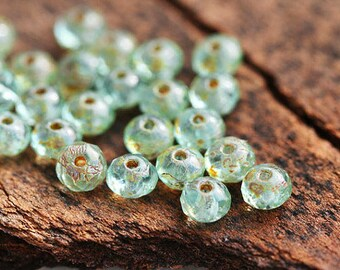 3x5mm Czech glass beads Blue green with picasso finish spacers, rondelle, gemstone cut, rondels - 40Pc - 3058