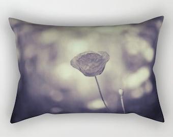Poppy Flower Rectangle Pillow, Gray Pillow, Black and White Rectangular Pillow with Insert, Rectangular Throw Pillows, Decorative Pillows