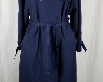 Vintage Tenpenny Belted Tie Cape Top All Weather Trench Coat Womens 13 80s Navy
