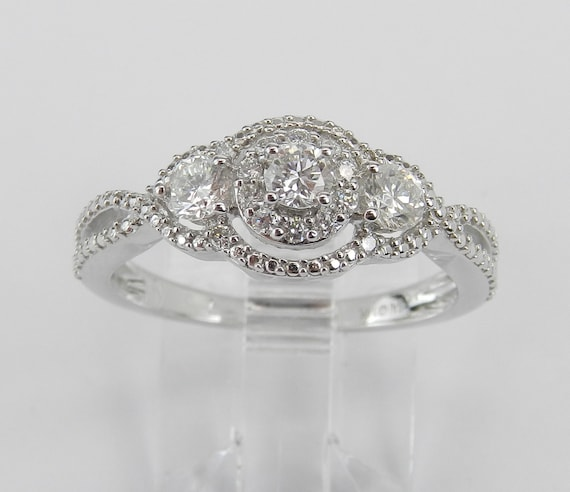14K White Gold Three Stone Round Halo Diamond Engagement Ring Size 7