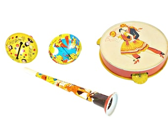 Vintage Tin Litho Toy Musical Instruments and Noisemakers, Made in USA, Tambourine, Horn, Noise Makers, Kirchnof, Newark, 1940''s & 1950's