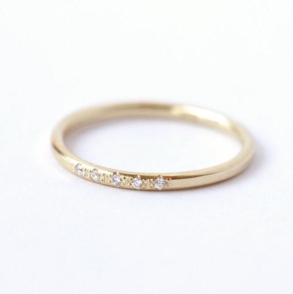 Diamond Wedding Ring Thin Diamond Band Dainty Wedding Ring