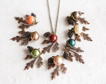 Acorn Pinecone Oak Leaf Pendant Necklace, Fall Autumn Jewelry Jewellery, Woodland Jewelry, Mothers day Gift for Mom, Gift for Wife grandma