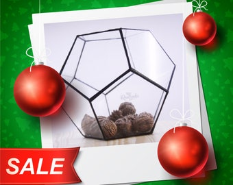 NY Discount -10% / Geometric Terrarium / Small Dodecahedron / Stained Glass Terrarium / Handmade Glass Planter / Stained glass vase