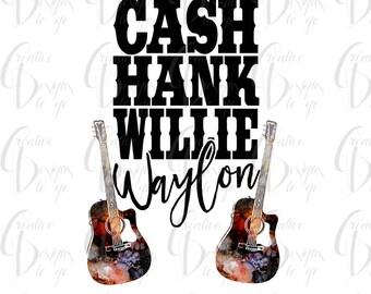 Sublimation Transfer for Shirts, Cash hank willie waylon shirt,  DIY shirt, Country singers shirt, legends, Heat press transfer
