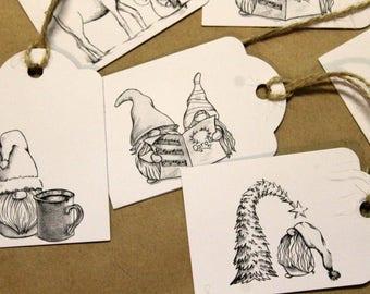 Mixed set of 14 gnome gift tags