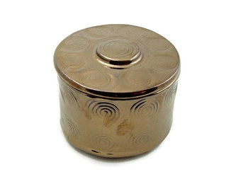 Ceramic Box Handmade Pottery SPIRALS in gold