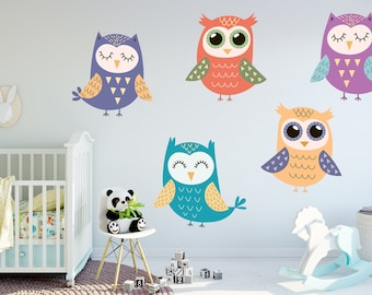 Colorful Owl Wall Decal Set, Colorful Owl Stickers, Kid's Room Decor, Living Room Decor, Bedroom Decor
