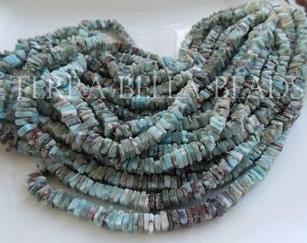 "8"" half strand natural LARIMAR smooth heishi cube beads 6mm - 6.5mm blue brown"