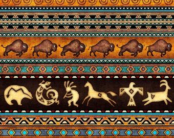 Southwest Fabric -Kokopelli Buffalo Horse -Southwest Soul Stripe - Dan Morris Quilting Treasures - 26636 - Priced by the half yard