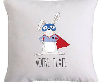 """""""Super rabbit"""" cushion personalised with text of your choice"""