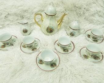 15 Piece Vintage Victorian Tea Demitasse Set Courting Couple