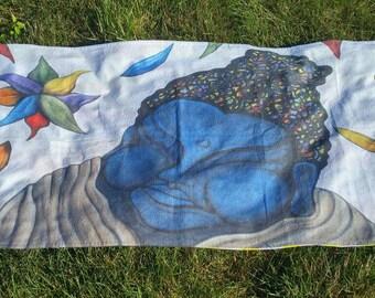 Blue Buddha Towel - Beach Towel - Towel